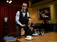 Ardent brown-haired Lea Lexis is porked by cooker and waiters in a restaurant