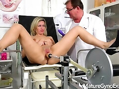 Shy submissive MILF made to cum in gynecology chair