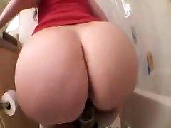 Phat Ass White Girl riding a big black dildo on rest room