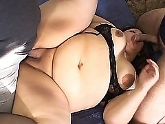 Horny plumper gets dirty with two big cocks