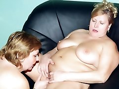 Anna and Yolanda are chunky older stunners nude and eating each other out on the couch