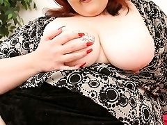 Phat redhead babe fondling her melons while fucking