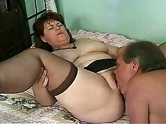 Sucking Madisons fur covered old labia is a real pleasure for her husband