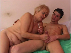 Plump wrinkled granny bouncing on top of fat cock