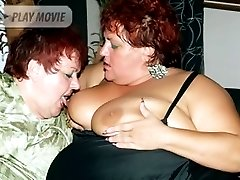 Fat matures Louise and Mindy lick tits and play with cunts while getting screwed in this threesome