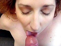 Pierced chubby redhead POV blowjob