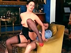 Retro Classical - Black Crotchless Satin Panties Act