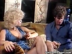 Blonde in lingerie gets cum puddle