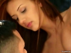 Romantic crimson haired honey gives footjob to her boyfriend early in the morning