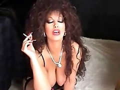 Classical Busty Cougar Smoking and Toying