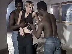White biotch wife Rebeca gives eager blowjob to a duo of big black men