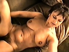 Yvonne's big globes hard nipples and hairy pussy