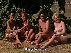 Naked Women Having Fun at a Nudist Resort (1960s Vintage)