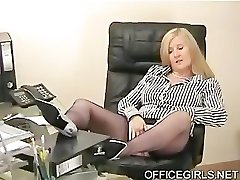 Chubby Secretary Teases In the Office In Blue Silk Tights