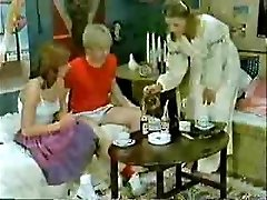Brother's friend and girlfriend frolicking to the physician when mom  comes-Retro