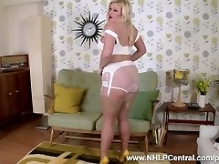 Busty ash-blonde Anna Fun strips in vintage white panties nylons heels to wank