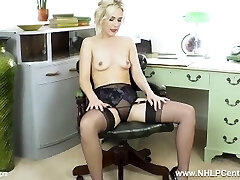 Office babe Aston Wilde strips off retro lingerie faps off in nylons heels
