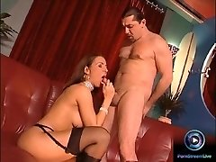 Glamour beauty Maria Belucci closeup fucked on both her cock-squeezing crevices