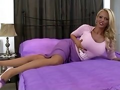 blond in vintage lingerie and tights solo
