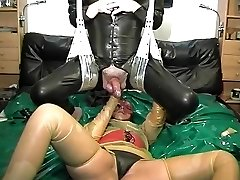 vintage rubber latex couple ass going knuckle deep cumshot