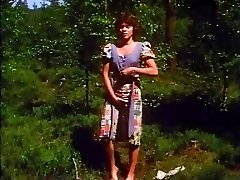 Retro - Girl jerks outdoor