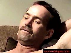 Male hairy bears jerking cock