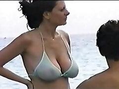 hot hefty tit mom at the beach