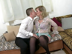 Taboo home romp with real mature mother Mirka