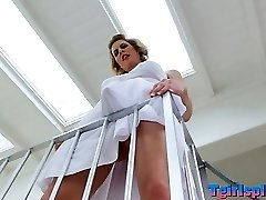 Blonde shemale Delia De Lions asshole penetrated in 3 way