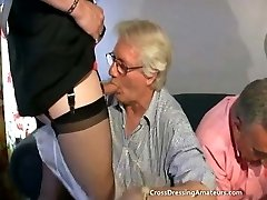 Nubile with 2 old men and a mature crossdresser