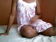 Sri Lankan Teen T-model Shemale in Sexy Nighty