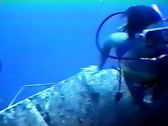 Wreck Scuba Diver In Swimsuit