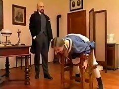 Bald teacher spank young student