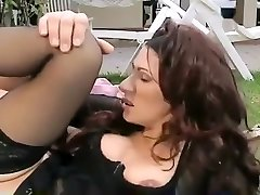 Crazy inexperienced Stockings, Vintage adult clip