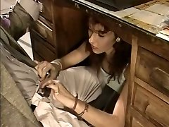 Bitchy assistant gives her boss a blowjob under the table