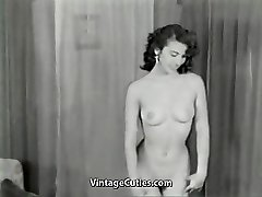 Nude Brunette Teases with Flawless Body (1950s Vintage)