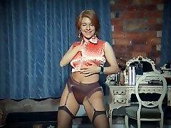 Homo - vintage big mounds strip dance tease in stockings