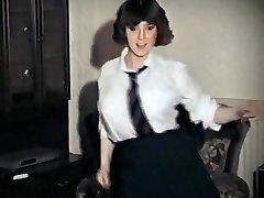 WHOLE LOTTA ROSIE - vintage immense tits schoolgirl strip dance