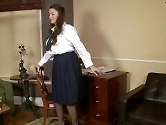 Schoolgirl Cherry Blush plays in vintage panties
