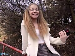 Public Agent Astounding Platinum-blonde Teen Sabrina Spice Gives Blowjob In Forest