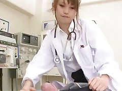 Wild and naughty asian nurse Ebihara Arisa stroking cock
