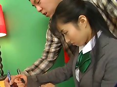 Hot Jap Chick In School Uniform Rides The D