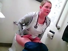 blonde nurse in toilet