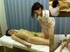 Massage hidden camera films a nymph giving hj