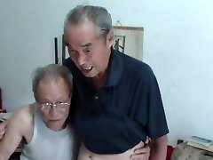 Chinese old men comparing boners