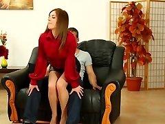 marvelous Leony Aprill in super-hot leather miniskirt