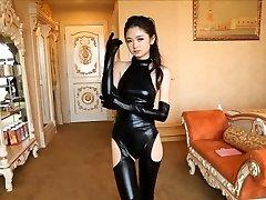 Beautiful Japanese woman in spandex