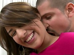 Timid blonde teen Esperanza Rojas is blessed to fill her mouth with lollipop