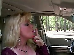 Hot Blonde Milf Smoking & Sucking In Fishnets & High-heeled Shoes