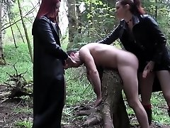 Goth femdoms pegging worthless loser together